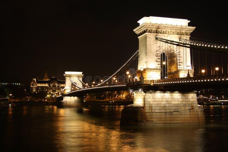 Chain Bridge Of Budapest By Night Stock Photos