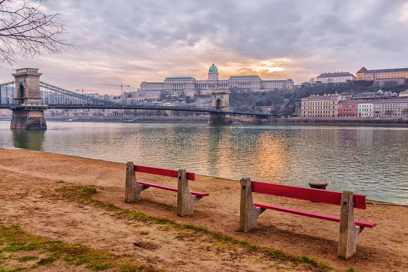 Chain Bridge in Budapest, at sunset stock photo