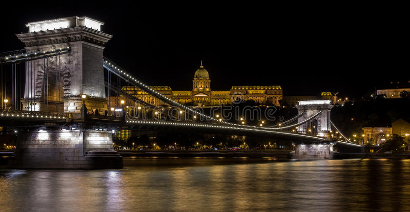 Chain Bridge Budapest. The Széchenyi Chain Bridge (Hungarian: Széchenyi lánchíd) is a suspension bridge that spans the River Danube between Buda and stock photo