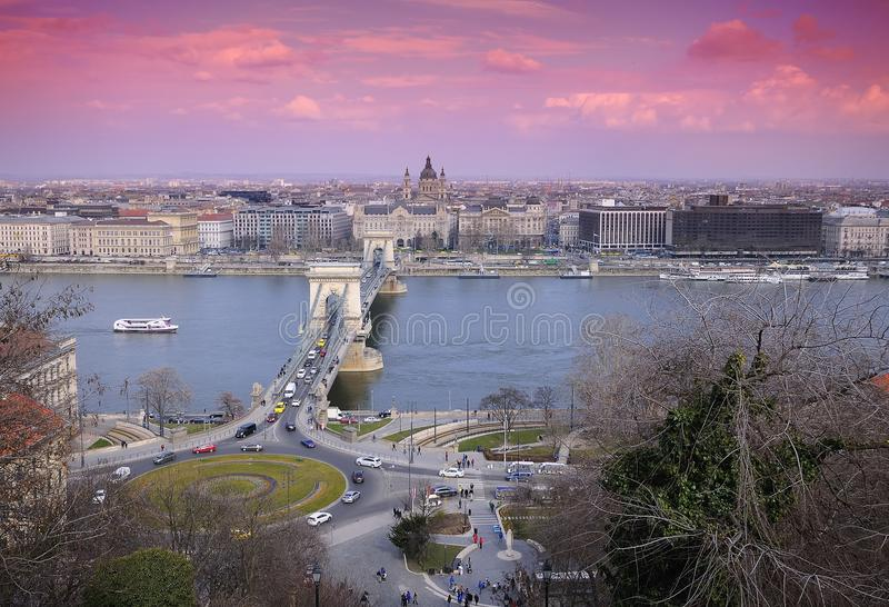 Chain bridge on Danube river in Budapest city in Hungary. stock photo