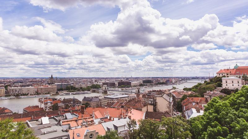 Chain bridge on Danube river in Budapest city. Hungary. Urban landscape panorama with old buildings stock image