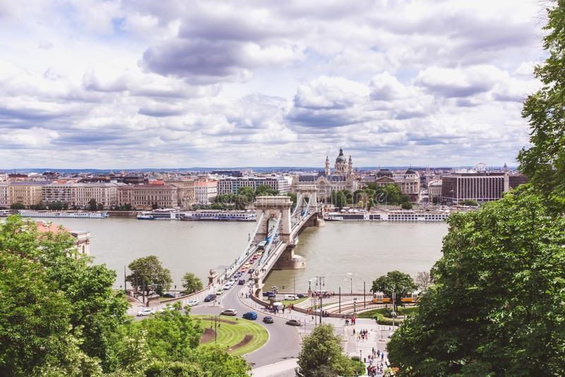 Chain bridge on Danube river in Budapest city. Hungary. Urban landscape panorama with old buildings royalty free stock photo