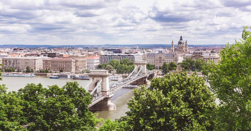 Chain bridge on Danube river in Budapest city. Hungary. Urban landscape panorama with old buildings royalty free stock image