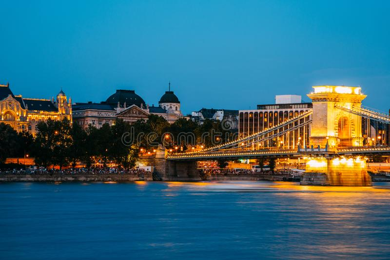 Night of Chain bridge on danube river in Budapest, Hungary. Budapest cityscape stock photo