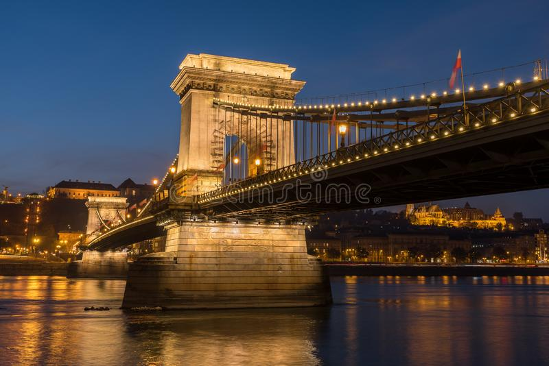 Chain Bridge and the Danube River at Night, Budapest, Hungary. Illuminated Chain Bridge with the Danube River in Budapest at night, Hungary, Europe stock photography