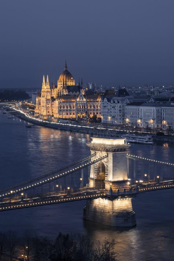 Chain bridge and Hungarian parliament at dusk, Budapest, Hungary stock photos