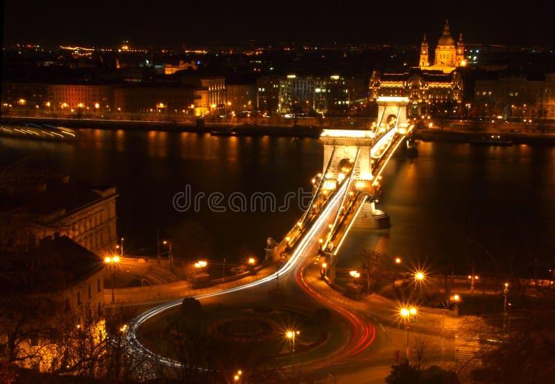 Chain Bridge at night royalty free stock photo