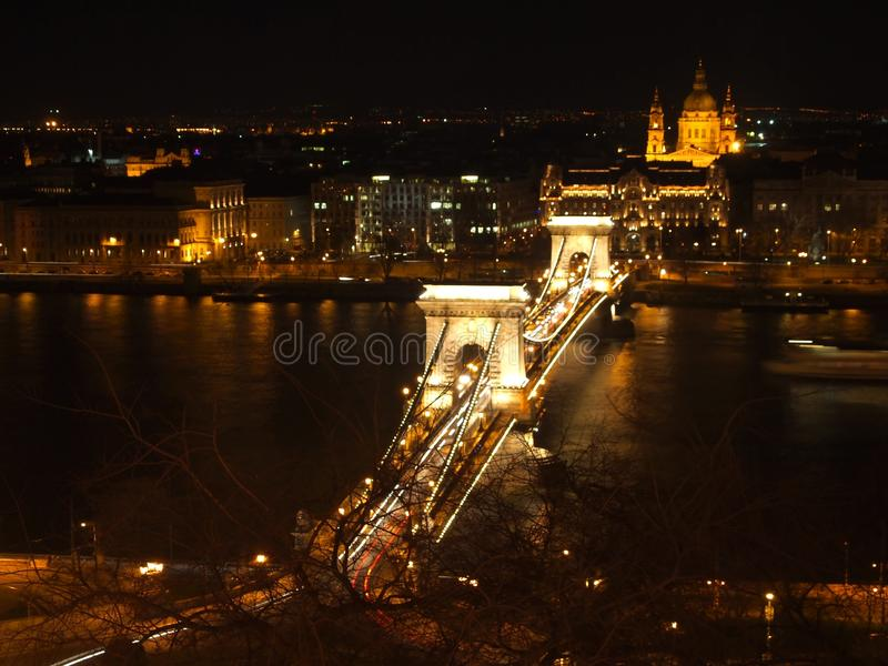 Chain Bridge at night royalty free stock image