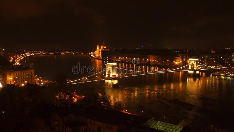 Chain Bridge at night stock photo