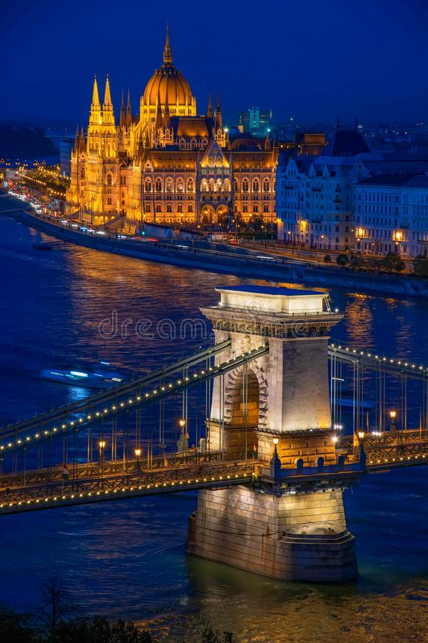 Chain Bridge and Parliament in Budapest at twilight, Hungary. Amazing view of Budapest citylights from Castle Hill with Danube river, Chain Bridge and Parliament stock images