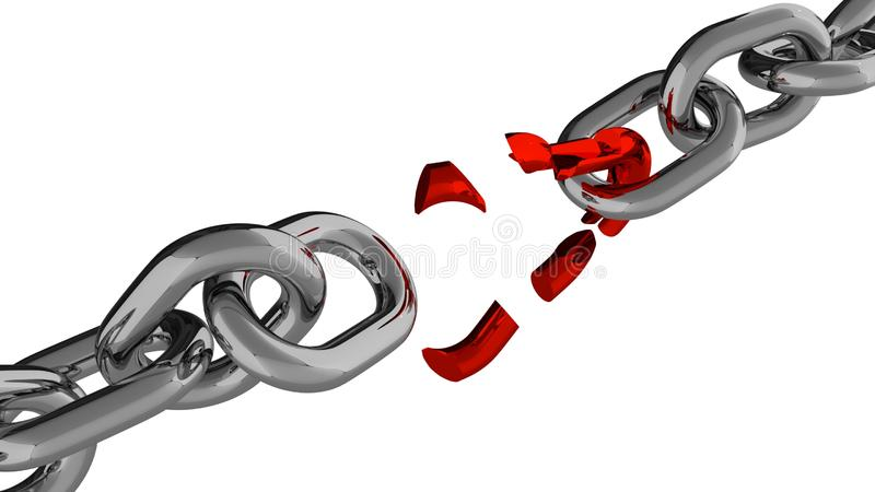 Download Chain With Broken Red Element Stock Illustration - Image: 83711696