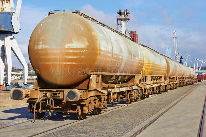 Chain of cargo wagons. On a rail road royalty free stock photography