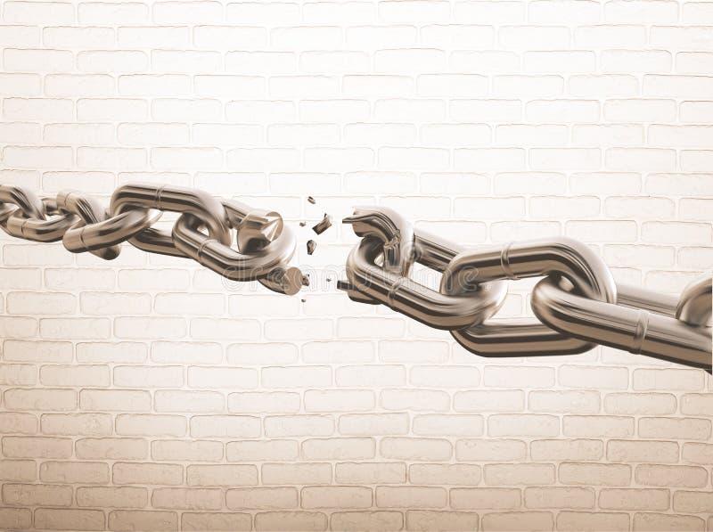 Chain. Link fence broken breaking link separation broken stock illustration