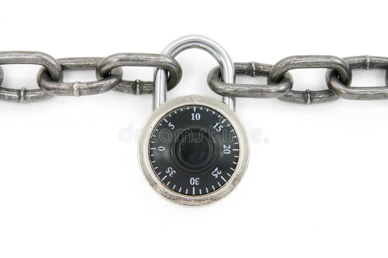 Chain and combination lock. With white background stock photography