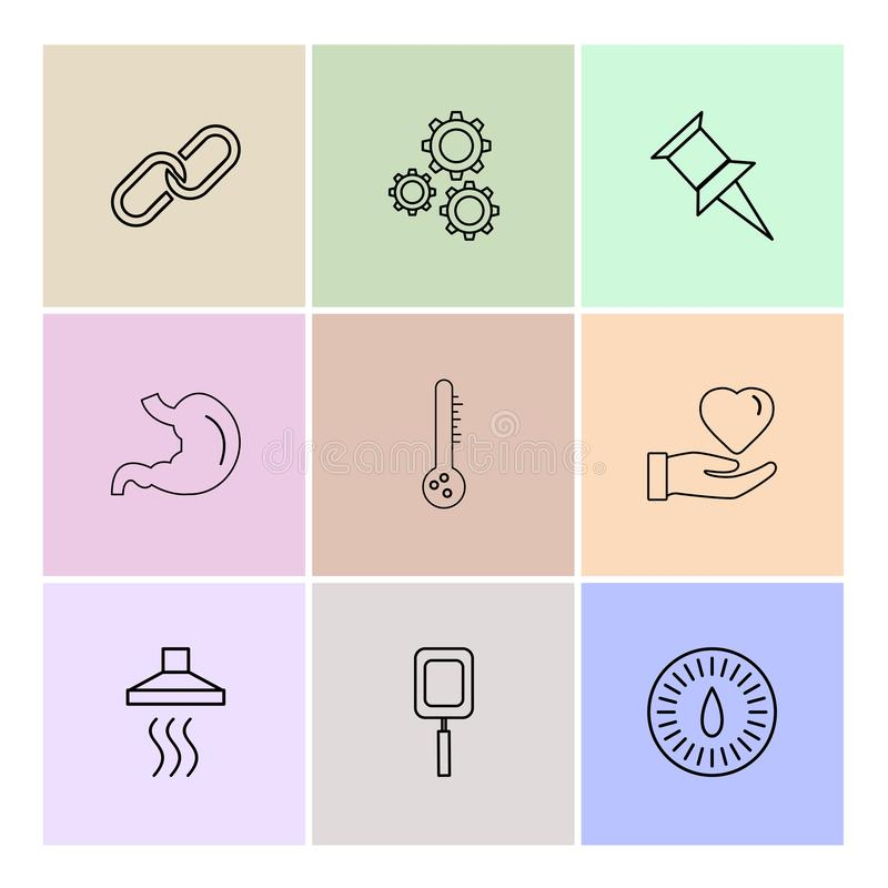 Chain , gear , pin , liver,thermometer , like, heat , eps icons. Chain , gear , pin , liver,thermometer , like, heat ,icon, vector, design, flat, collection stock illustration