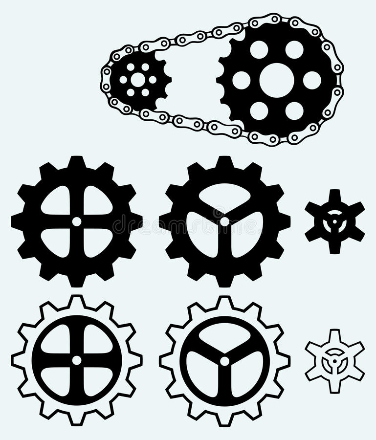 Download Chain gears and set cogs stock vector. Image of crank - 37859237
