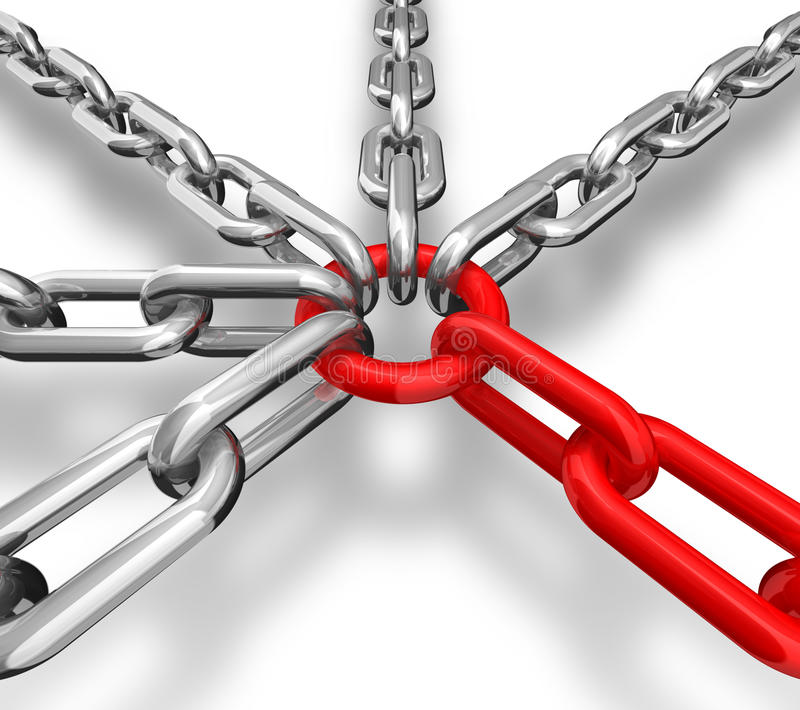 Chain Group. 3d illustration of a group of red and silver chain - conceptual image stock illustration