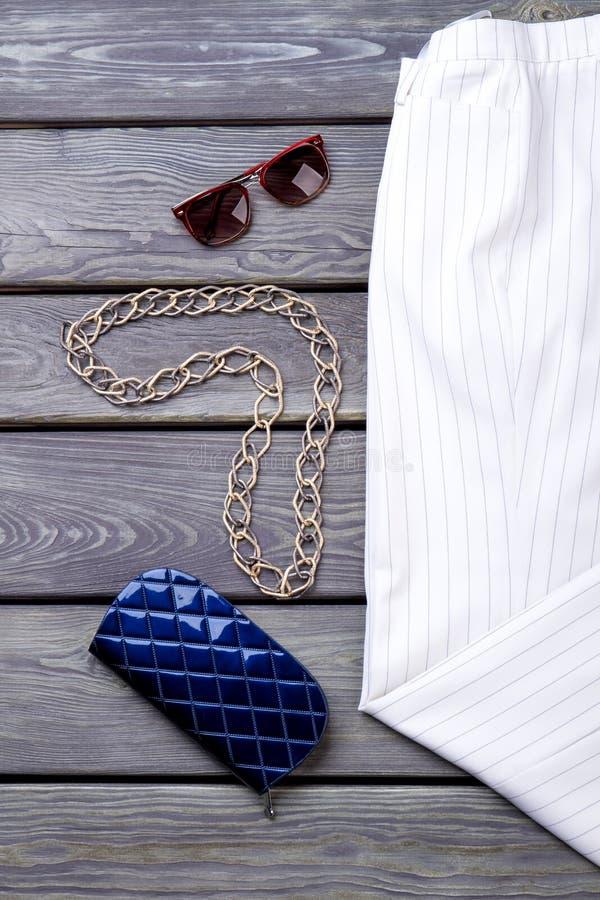 Chain halsband med solglasögon och den blåa plånboken royaltyfri fotografi
