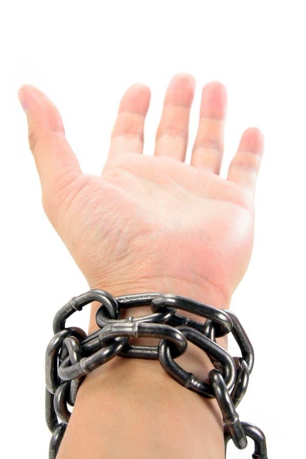 chain hand royaltyfri fotografi