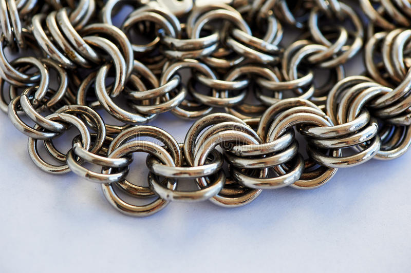 Chain heap - abstract metal in white background stock image