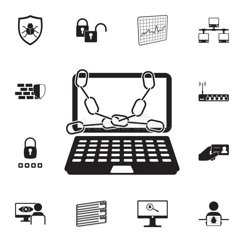 chain on laptop icon. Detailed set of cyber security icons. Premium quality graphic design sign. One of the collection icons for w stock illustration