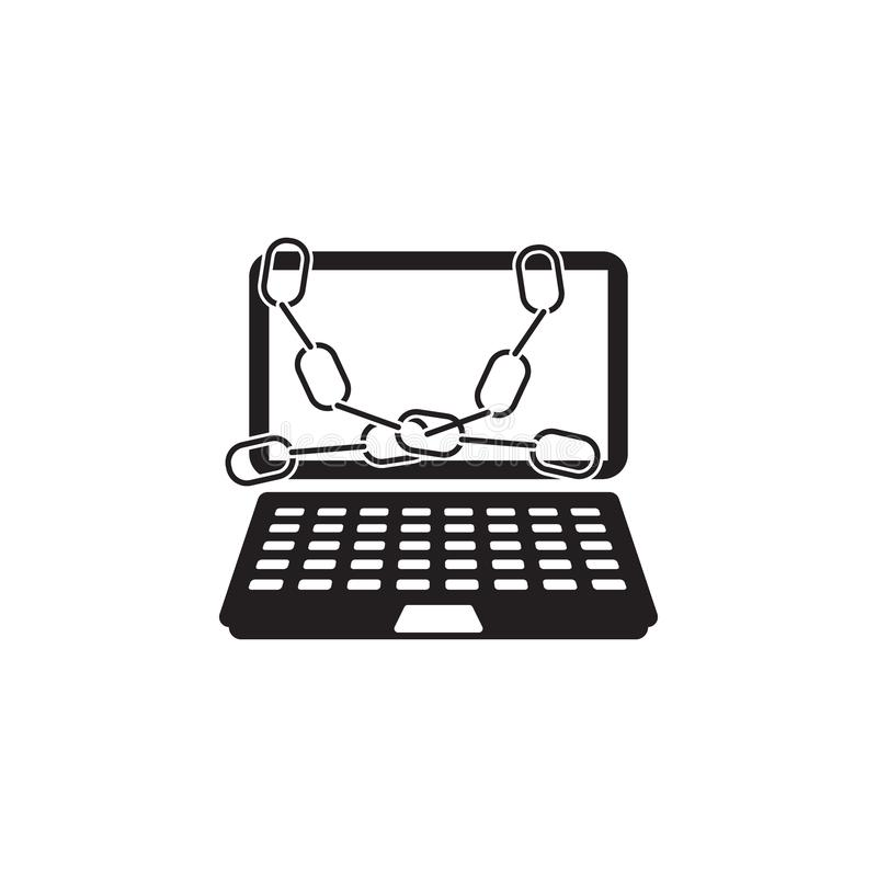 chain on laptop icon. Elements of cyber security icon. Premium quality graphic design. Signs and symbols collection icon for websi stock illustration