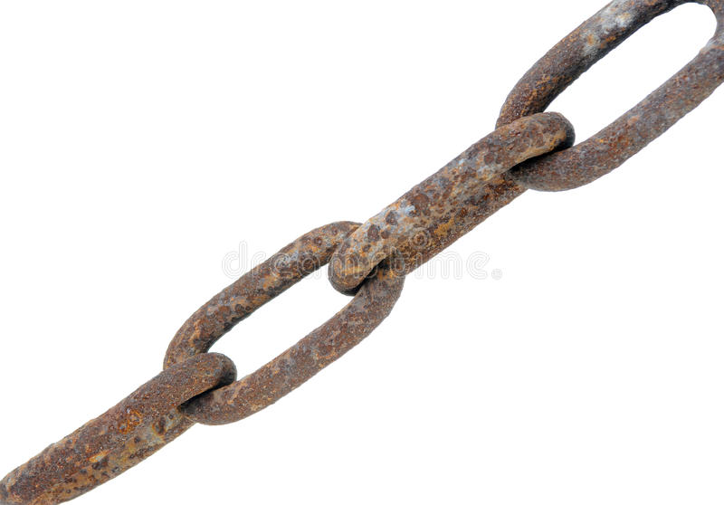 Chain with large links. Isolated on white background royalty free stock image
