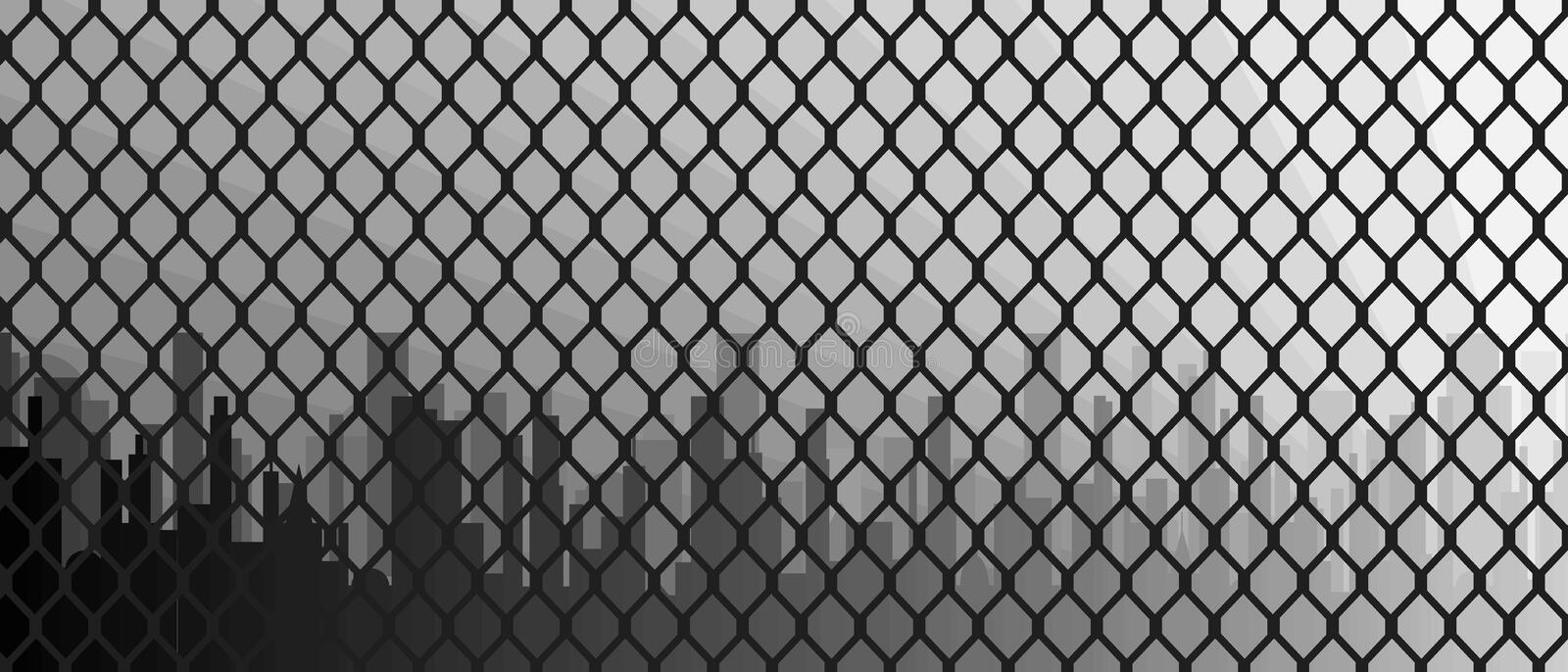 Chain Link Fence With City Skyline Background royalty free illustration