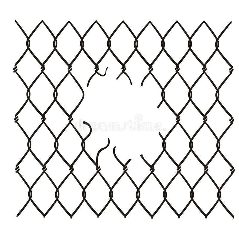 Chain link fence damaged vector. Chain link fence damaged vector isolated on white background vector illustration