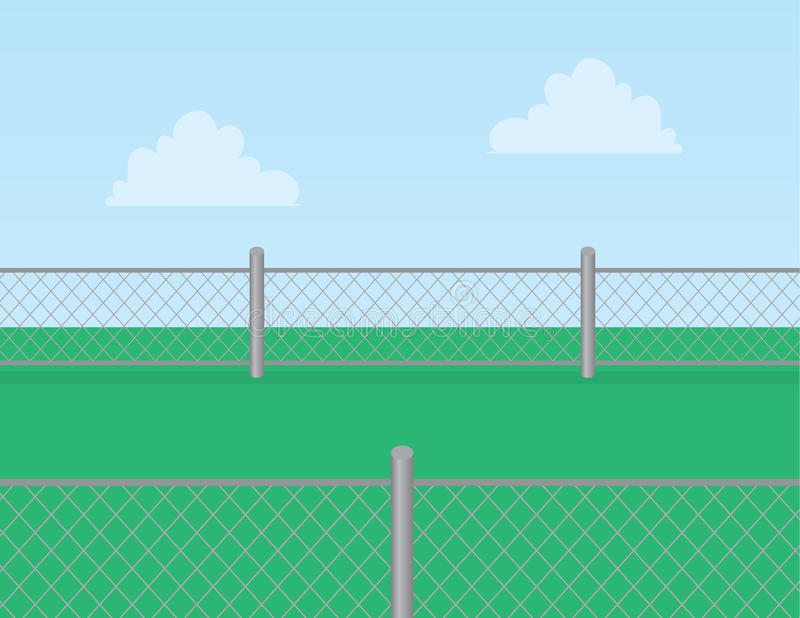 Chain Link Fence Grass royalty free illustration