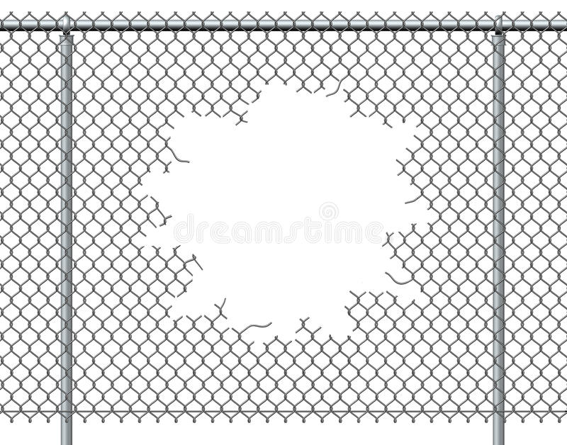 Chain Link Fence Hole. With blank copy space on a white background burst with ripped chainlink metal wire that has been punctured or punched open as a vector illustration