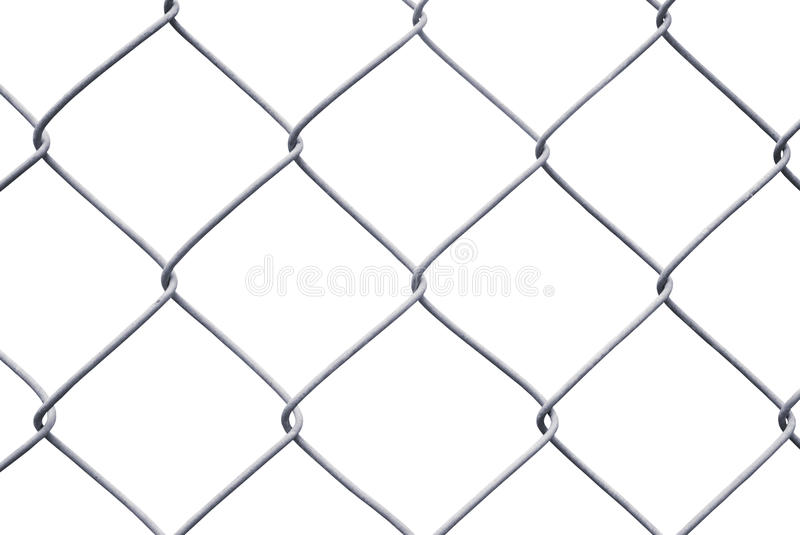 Chain Link Fence Isolated on White. Close-Up Chain Link Fence Isolated on White royalty free stock photo