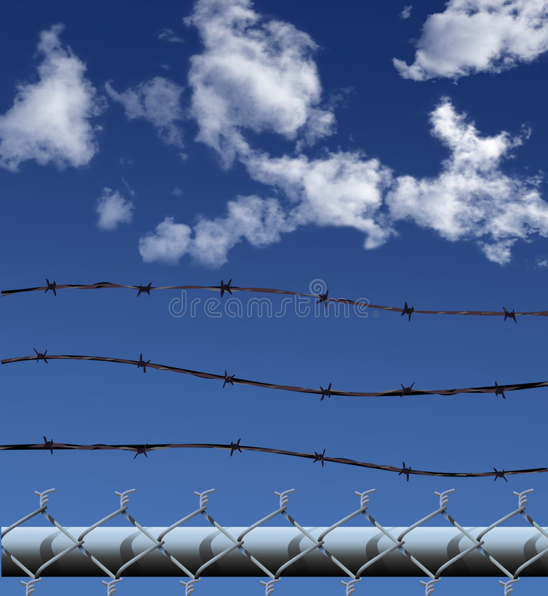 Chain Link Security Fence. Illustration (NOT A PHOTO) of a chainlink fence and barbed wire security fence against a clouds and sky royalty free illustration