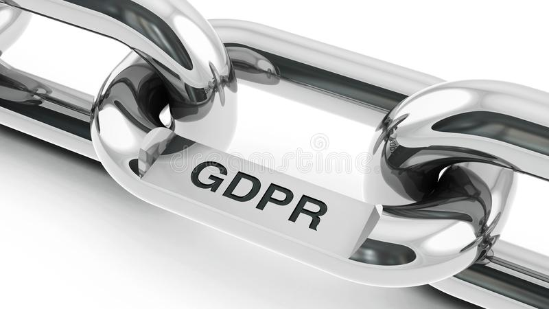 Chain with GDPR link royalty free illustration
