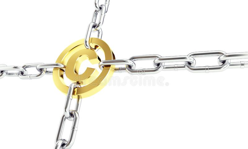 Chain links metal copyright sign gold 3d Illustrations on a white background stock illustration