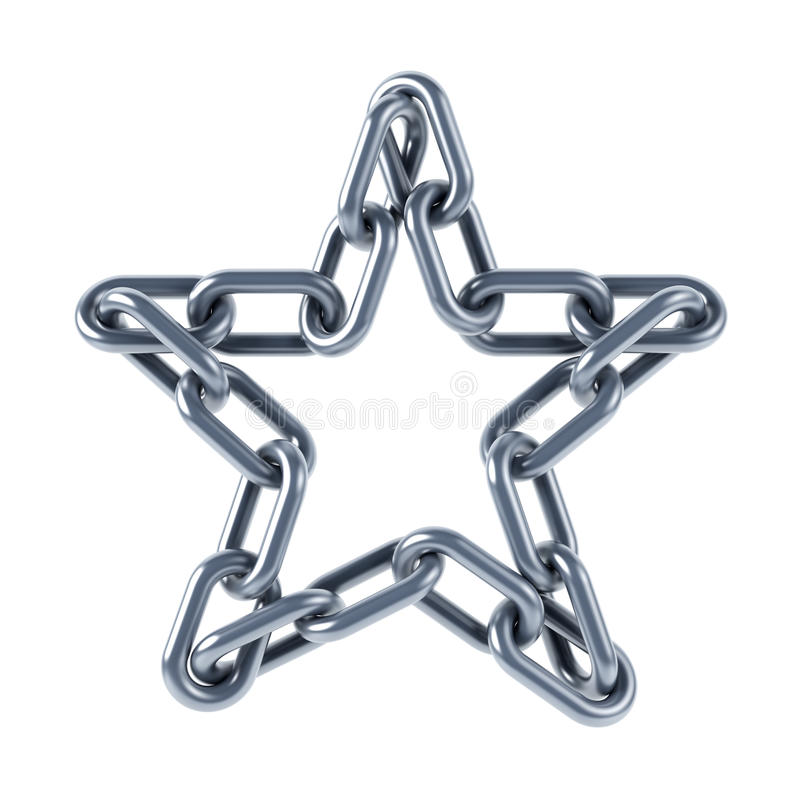 Chain Links United In A Star Stock Image