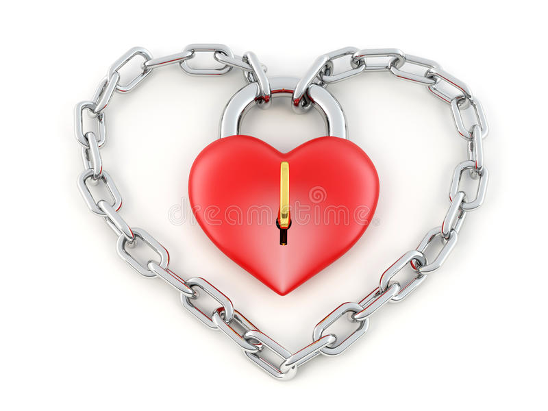 Download Chain with lock as heart stock illustration. Illustration of background - 14628132