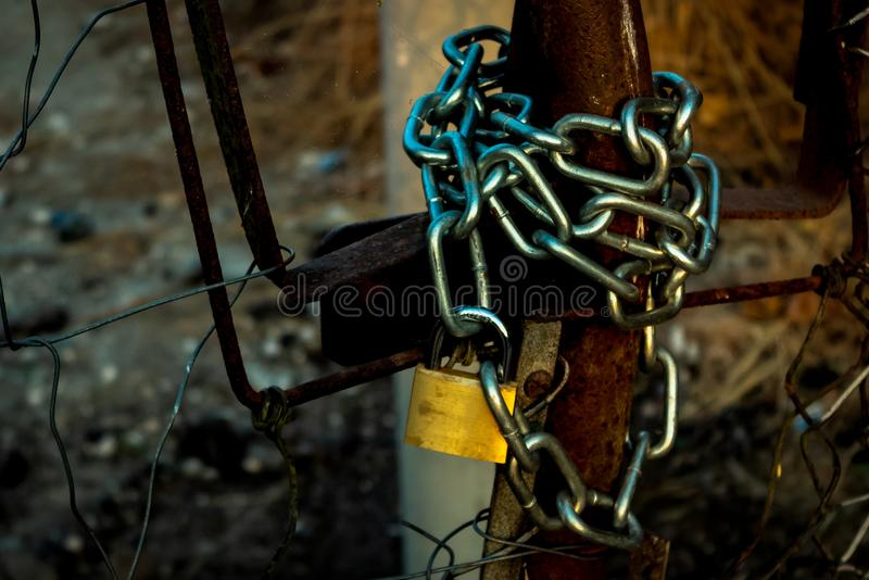 The chain with the lock stock photos