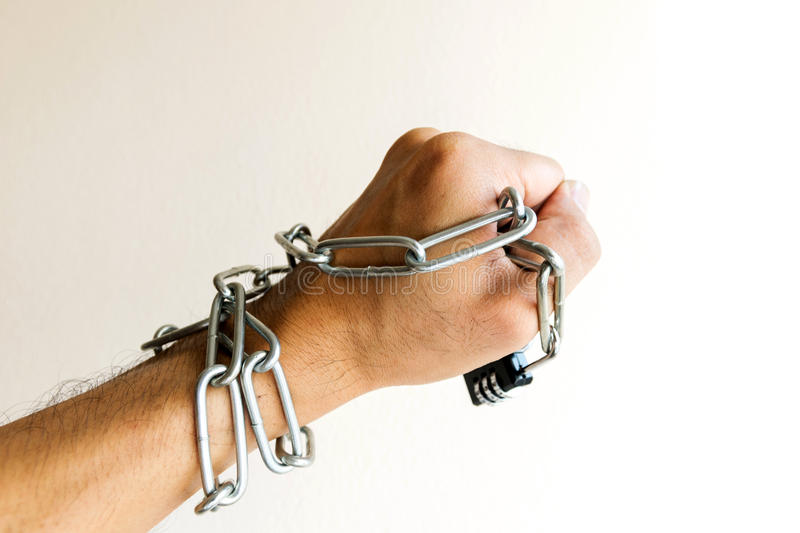 The chain lock was at the hands. royalty free stock photography