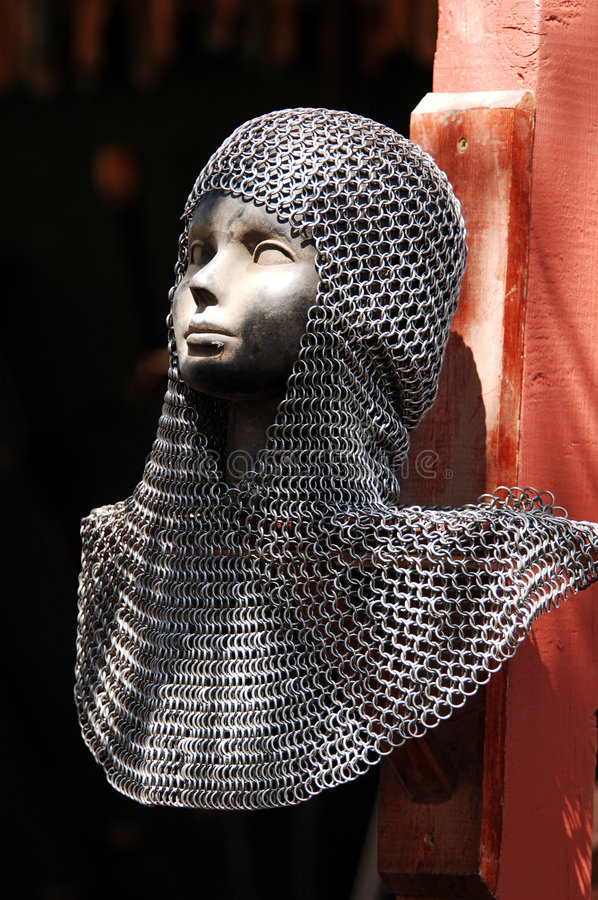 Chain Mail. Hood for hand to hand battle royalty free stock image