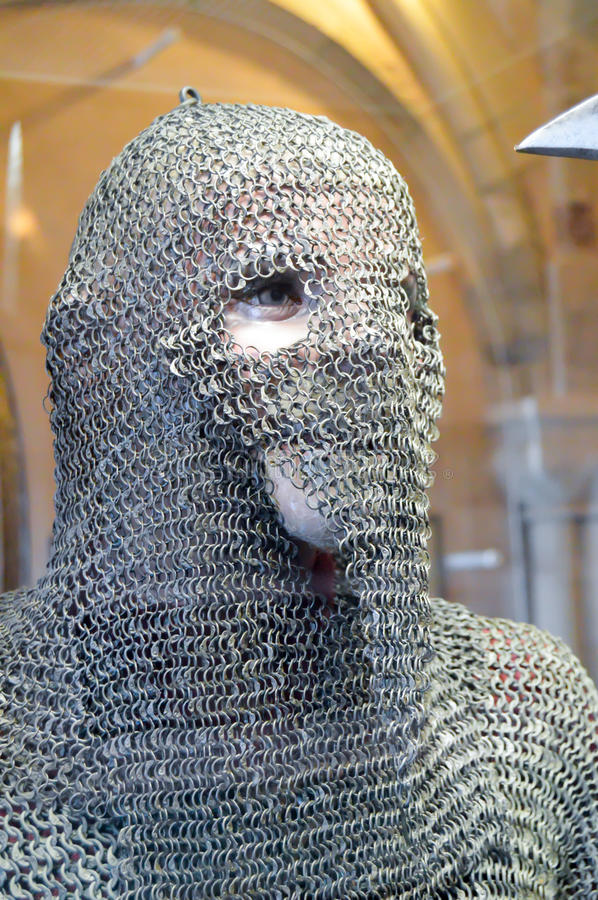Chain of mail on the face royalty free stock photography