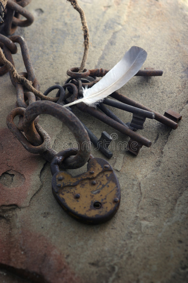 Chain and old keys. Still life with chain and old keys royalty free stock photo