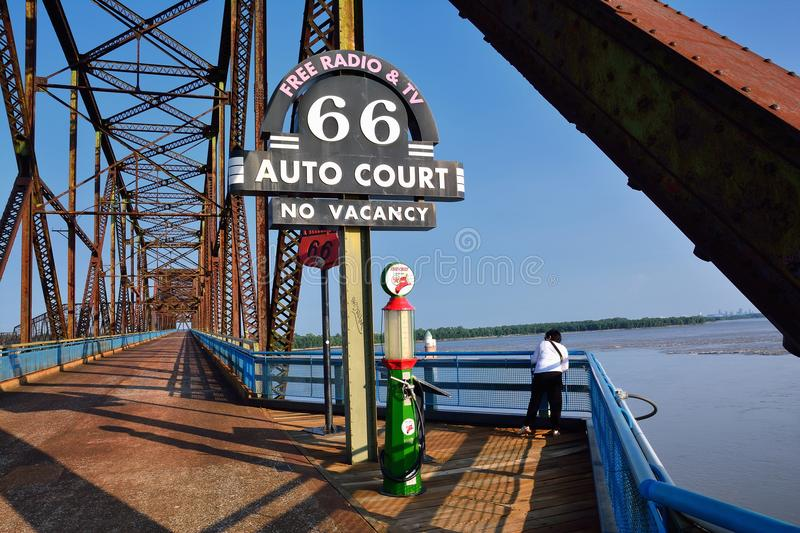 Chain of Rocks bridge on the Mississippi river. Granite city, Illinois - July 17, 2017: Route 66, an old station gas on the old Chain of Rocks bridge on the stock image
