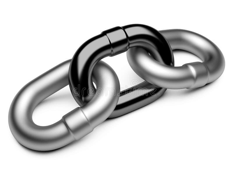Chain sammanlänkning på vit bakgrund stock illustrationer