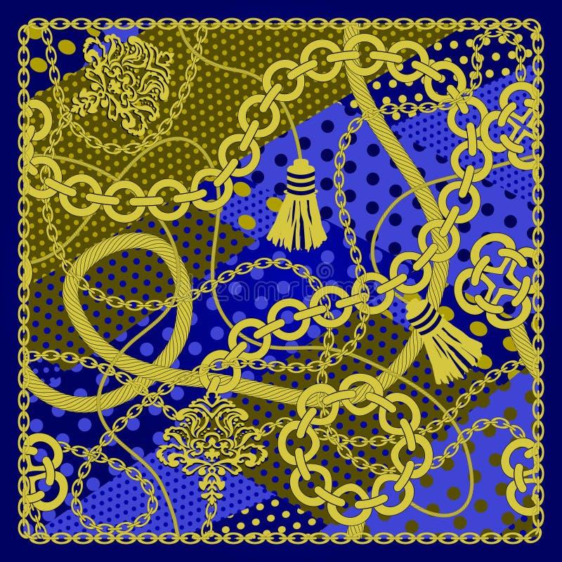 Chain seamless on polka dots background. Vector illustration royalty free illustration
