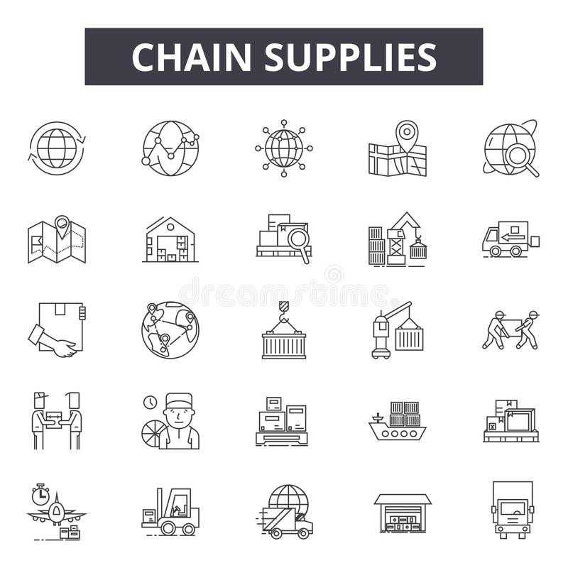 Chain supplies line icons, signs, vector set, outline illustration concept vector illustration