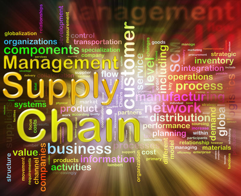 Chain supply management wordcloud vector illustration
