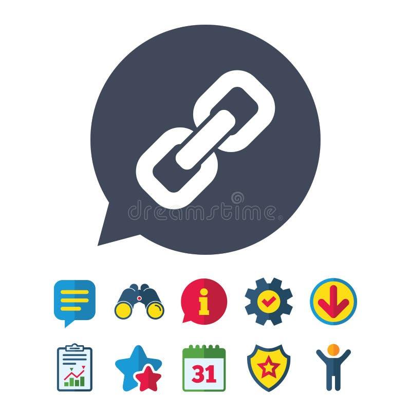 Chain symbol för Hyperlink Hyperlinksymbol stock illustrationer
