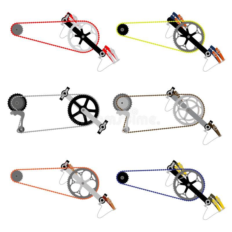 Chain tandhjul för cykel stock illustrationer
