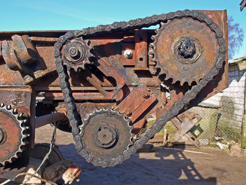 Chain transmission stock photo